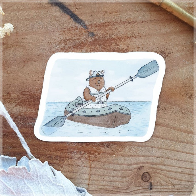 Kayaking Quokka ~ Vinyl Sticker