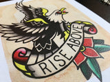 Rise Above Eagle Tattoo Flash - Jared Gaines Art