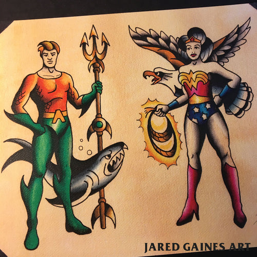 Aquaman and Wonder Woman Tattoo Flash - Jared Gaines Art