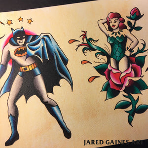 Batman and Poison Ivy Tattoo Flash - Jared Gaines Art