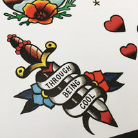 Saves the Day - Through Being Cool Tattoo Flash - Jared Gaines Art