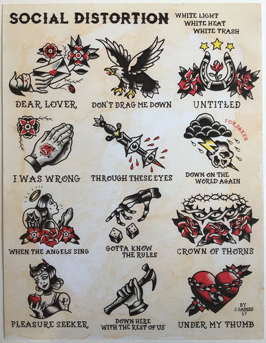 Social Distortion White Light Tattoo Flash - Jared Gaines Art