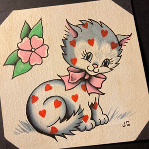 Kitten Hearts Valentine Painting