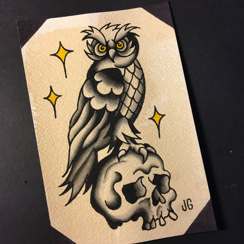 Owl and Skull - Jared Gaines Art