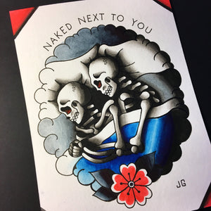 Skeletons in Bed - Jared Gaines Art