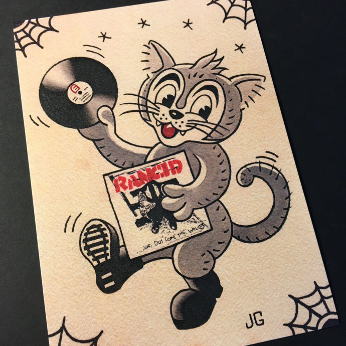 Rancid Cat Tattoo Flash