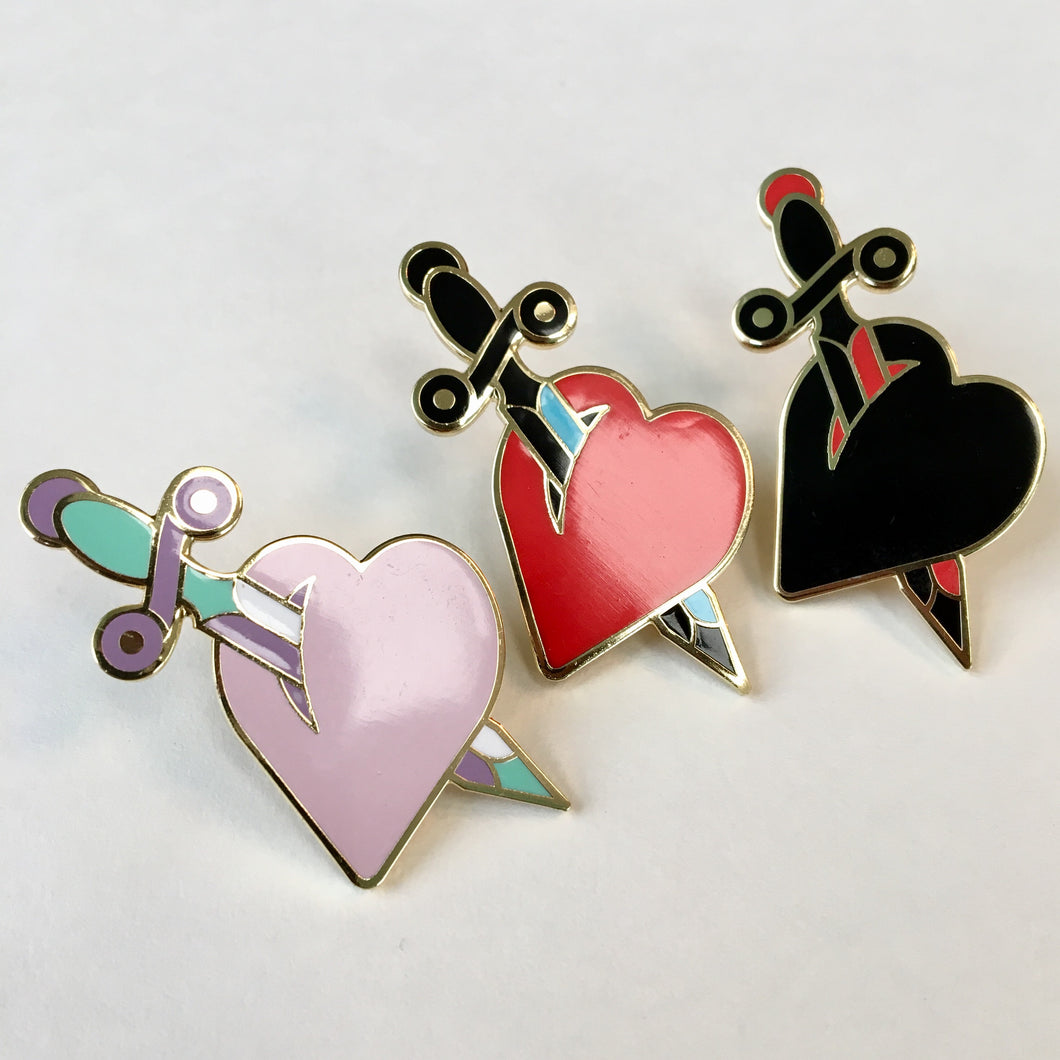 Heart and Dagger Pin - Jared Gaines Art