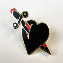 Load image into Gallery viewer, Heart and Dagger Pin - Jared Gaines Art
