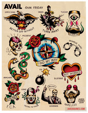 Load image into Gallery viewer, Avail 4am Friday Tattoo flash - Jared Gaines Art