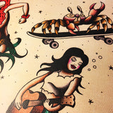 Beach Party Tattoo Flash - Jared Gaines Art