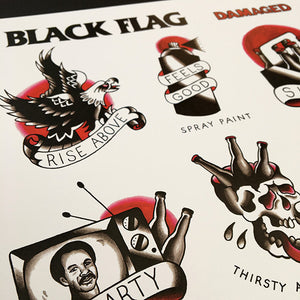 Black Flag Tattoo Flash - Jared Gaines Art