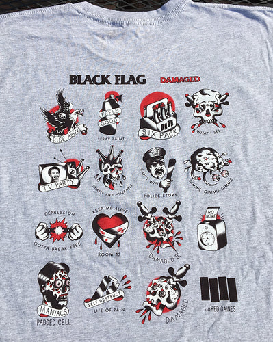 Black Flag Damaged Tattoo Flash Shirt - Jared Gaines Art