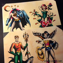 Load image into Gallery viewer, Aquaman and Wonder Woman Tattoo Flash - Jared Gaines Art