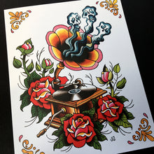 Load image into Gallery viewer, Record Player Tattoo Flash - Jared Gaines Art