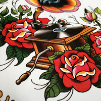 old record player tattoo flash