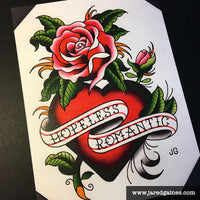 Bouncing Souls Hopeless Romantic Tattoo Flash - Jared Gaines Art