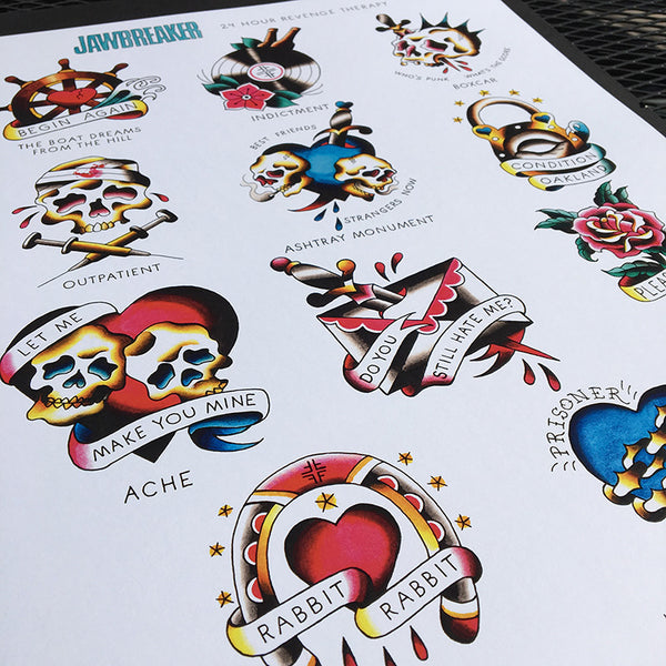 84ebe40bd9d18 Jawbreaker Tattoo Flash | 24 Hour Revenge Therapy Poster – Jared ...