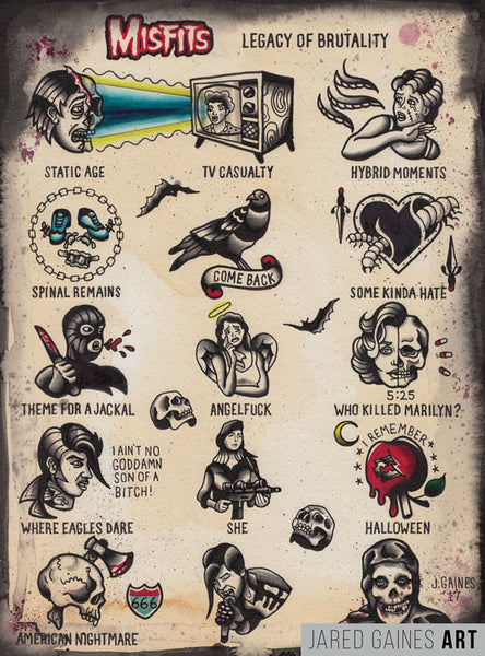 Misfits Tattoo Flash | Legacy of Brutality - Jared Gaines Art