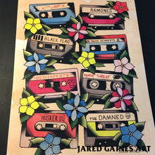 Load image into Gallery viewer, Cassette Tapes Print - 80's Punk Edition - Jared Gaines Art