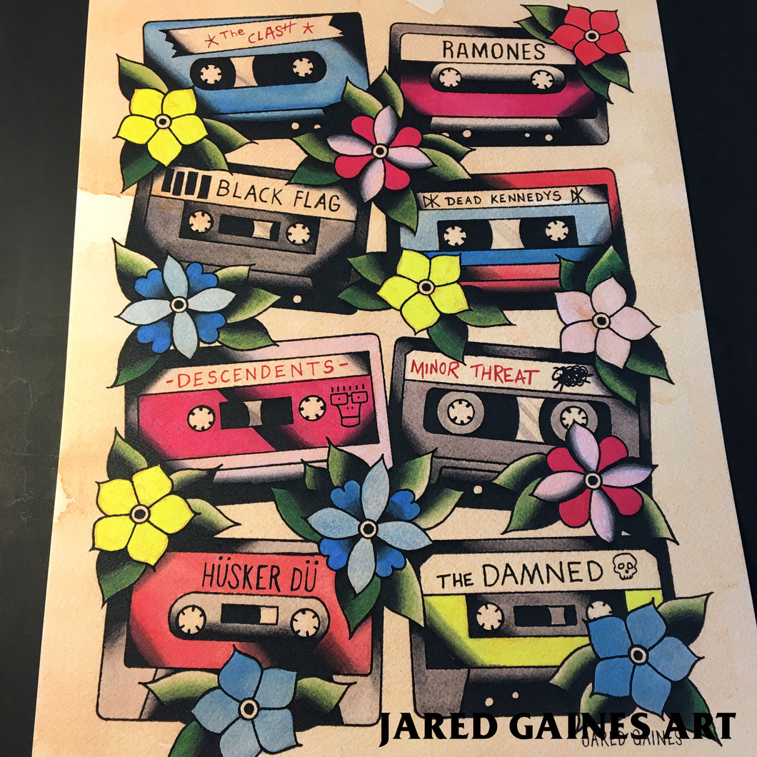 Cassette Tapes Print - 80's Punk Edition - Jared Gaines Art