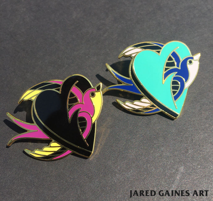 swallow and heart tattoo flash pin