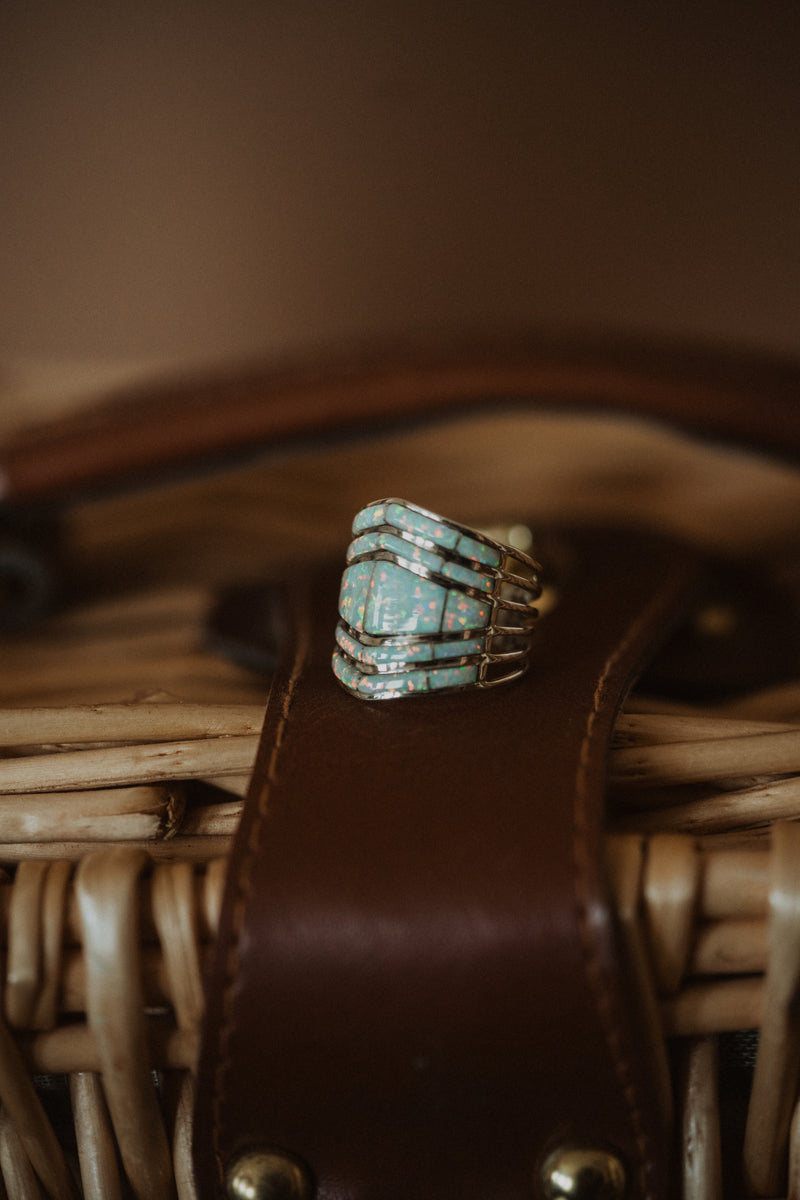 Double Bar Shield Ring | White Opal