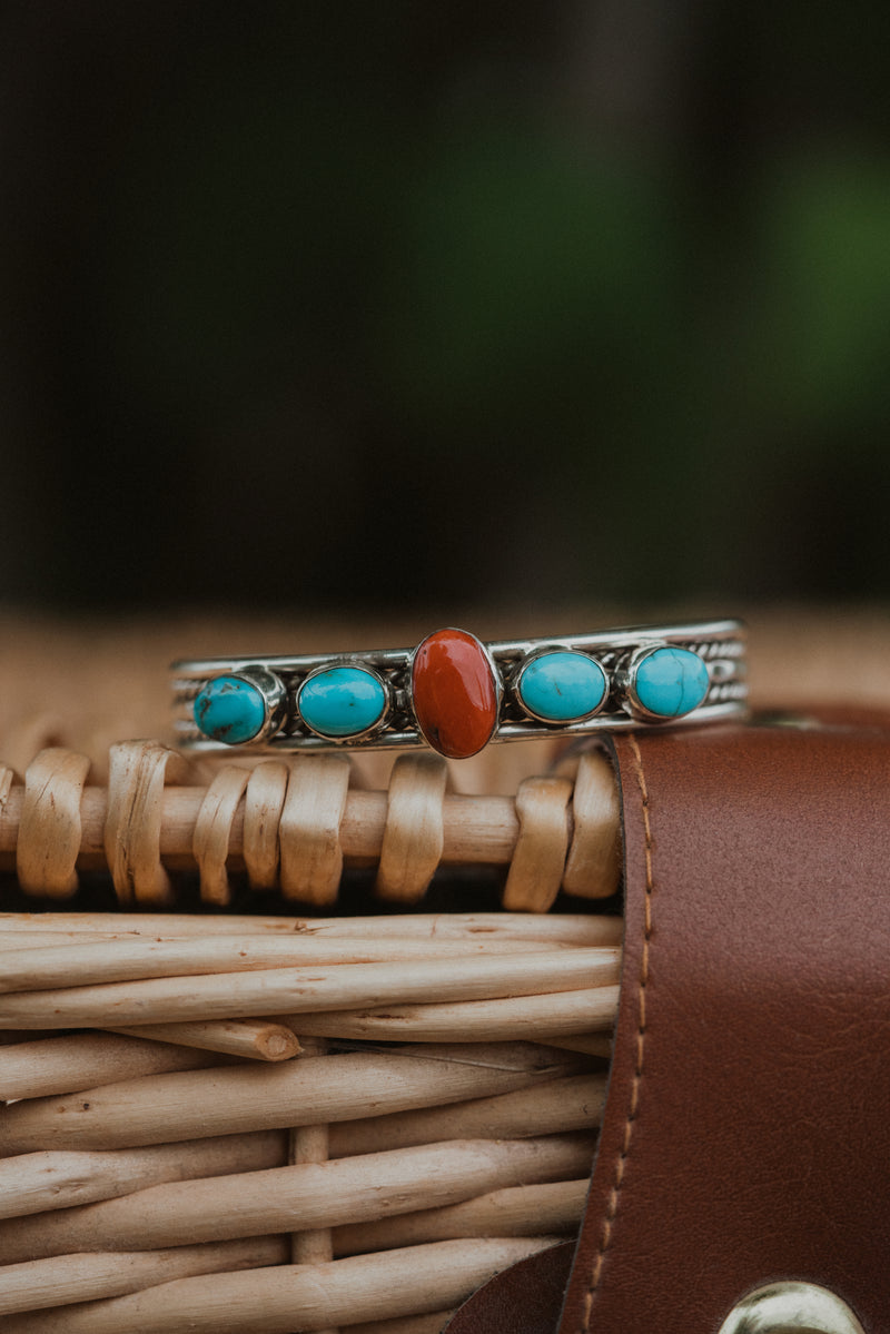 Turquoise and Red Cuff