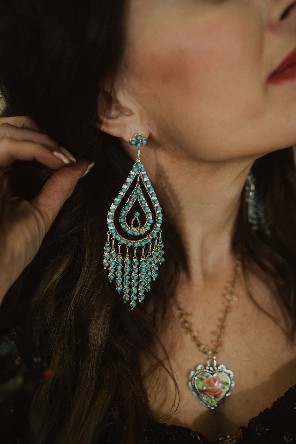 Large Rain Drop Chandelier Earrings