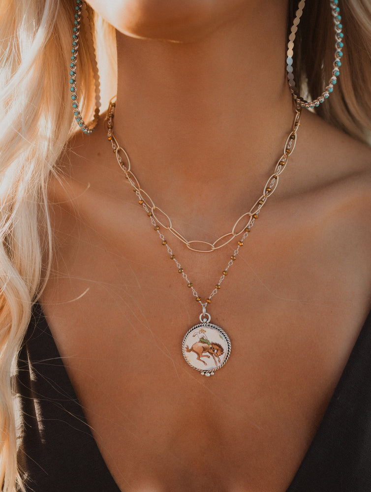 Small Bucking Horse Pendant | Shelly Chain