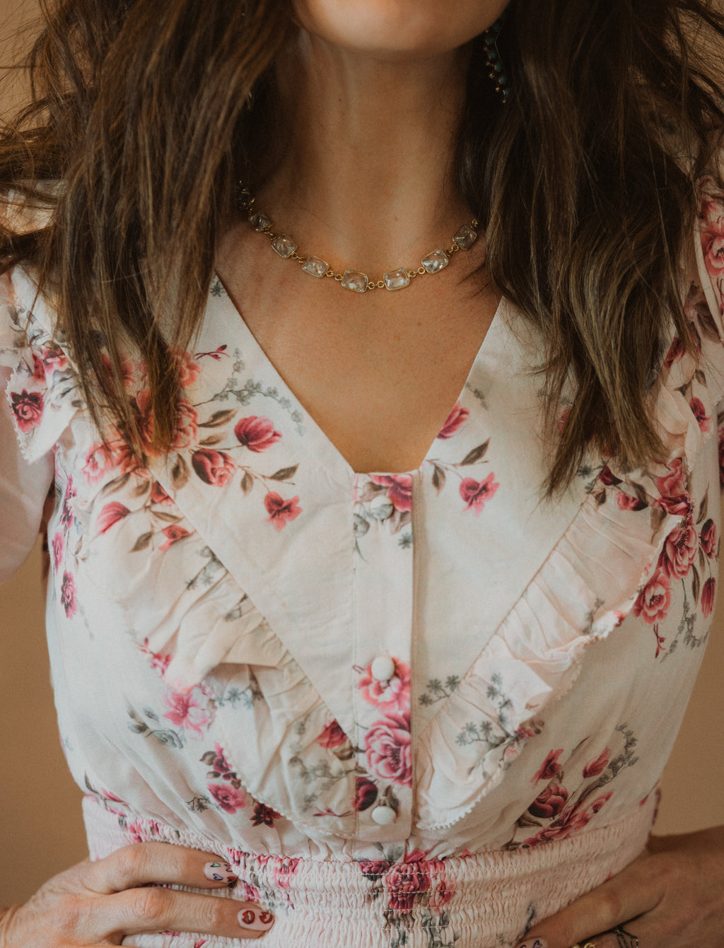 Crystal Necklace | Gold Detail