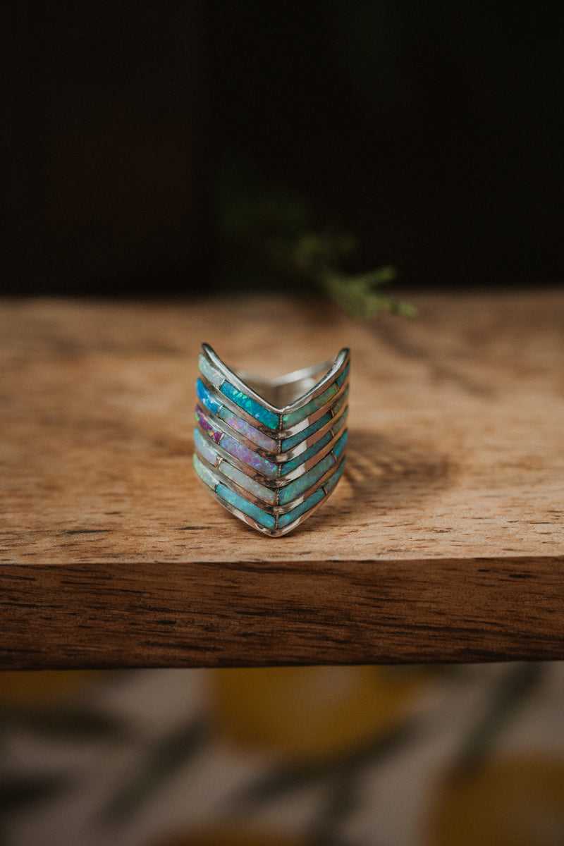 5 Bar Slanted Ring | Colorful Opal