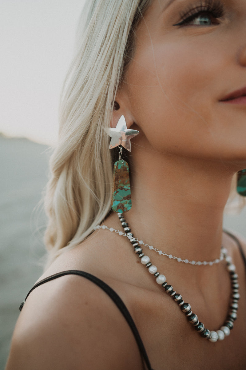 Silver Star | Green Mojave Turquoise Earrings