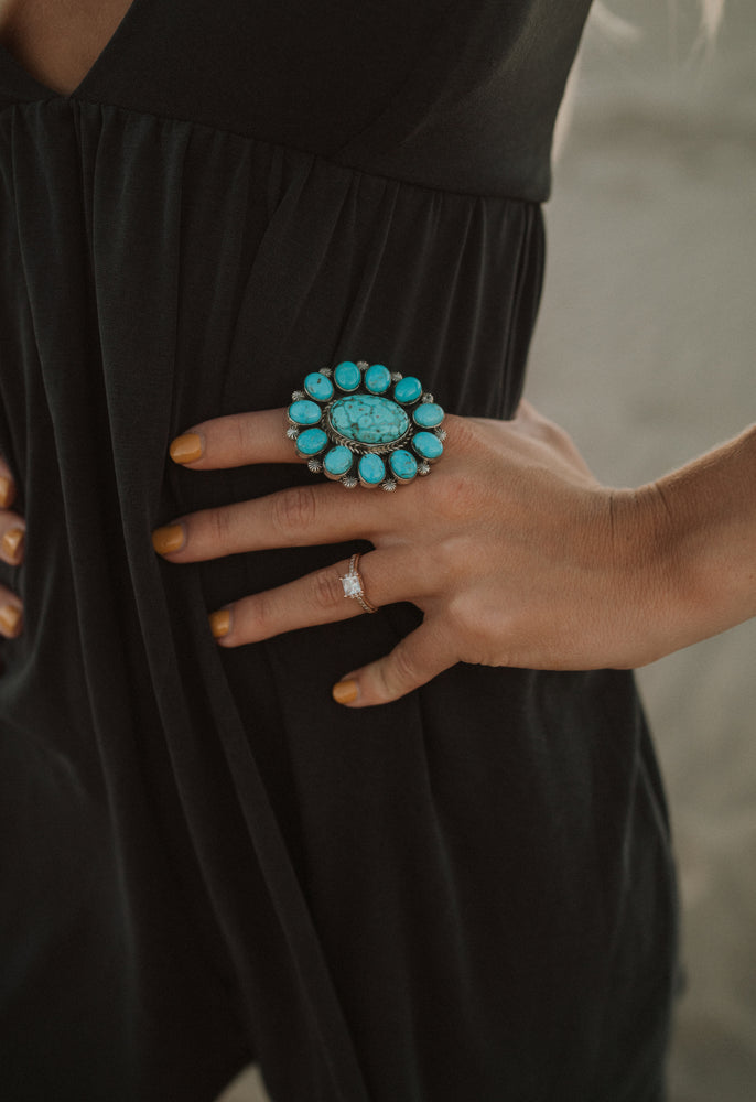 Large Turquoise Flower Ring