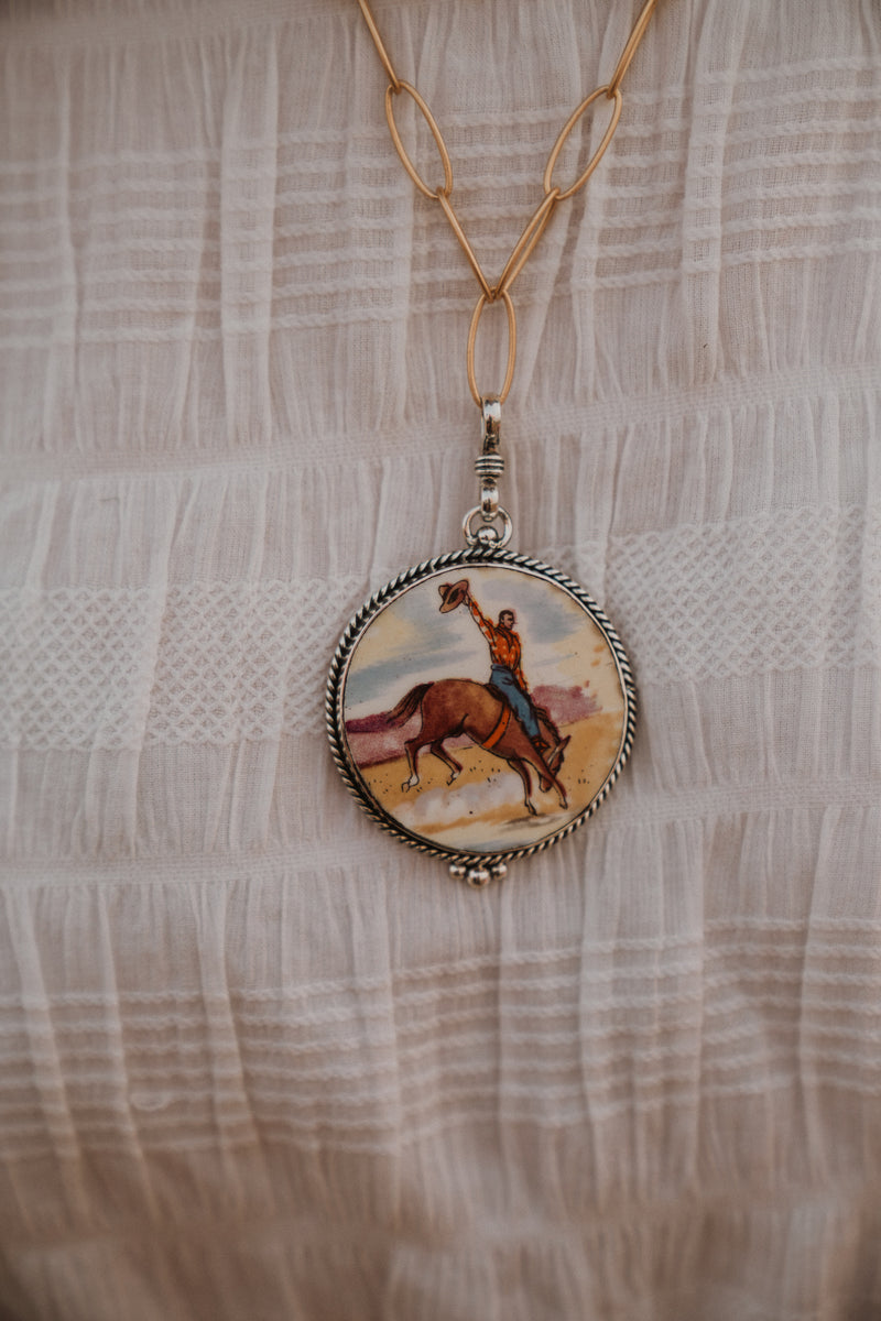 The Bill | Bucking Horse | Vintage Dish Pendant