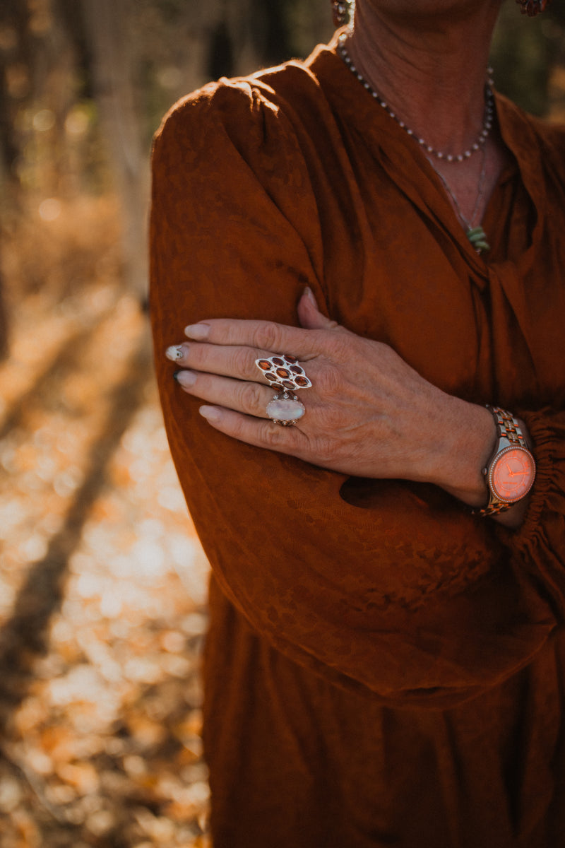 The Lora Ring | Rainbow Moonstone