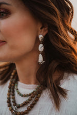 3 Stone Dangle Earring | White Buffalo | #2