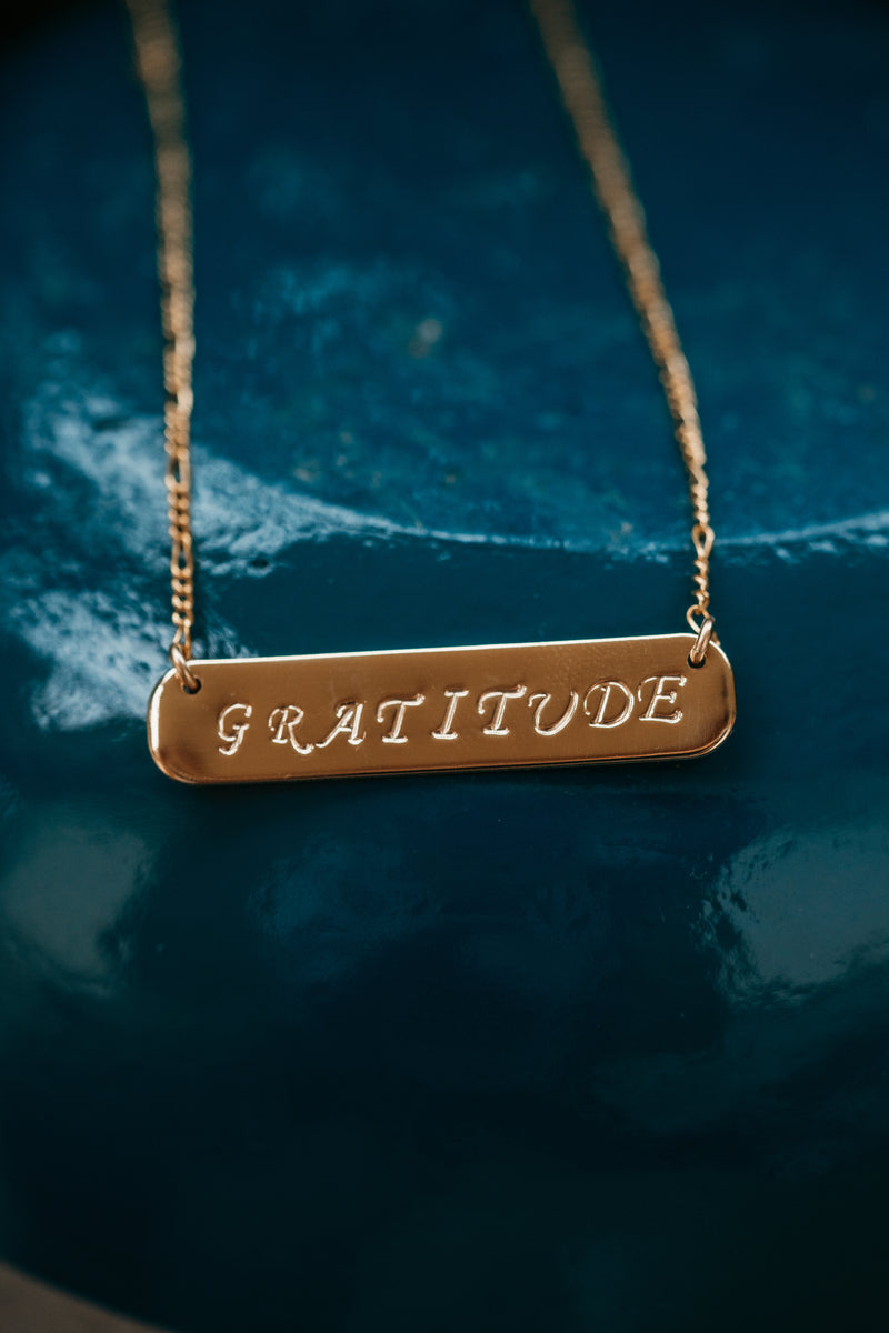 Gold Gratitude Bar Necklace