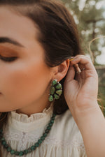 Green Half Flower Earrings
