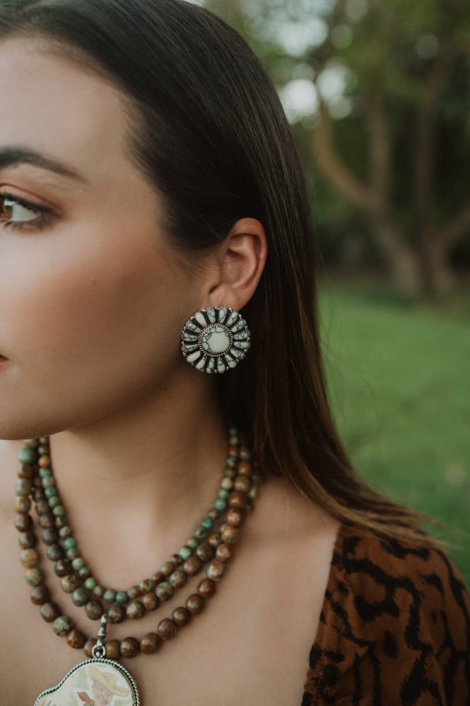 Everleigh Flower Earrings | White Buffalo