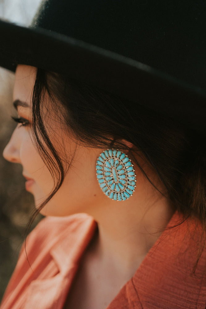Turquoise Zuni Oval Earrings