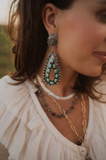 The Bernie | XL Concho Turquoise Raindrop Hoops