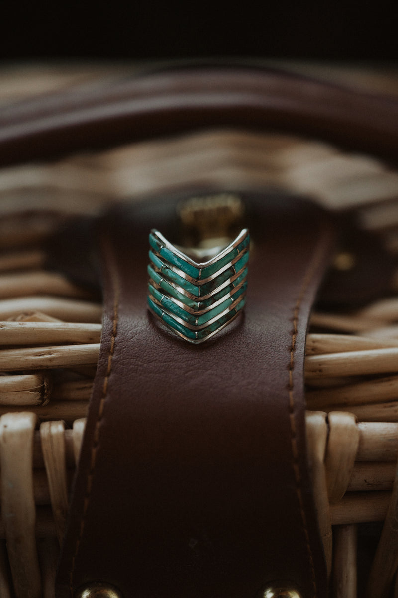 5 Bar Slanted Ring | Turquoise