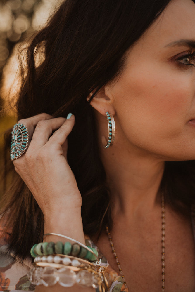 Turquoise Dot Feather Earrings | Half Hoop
