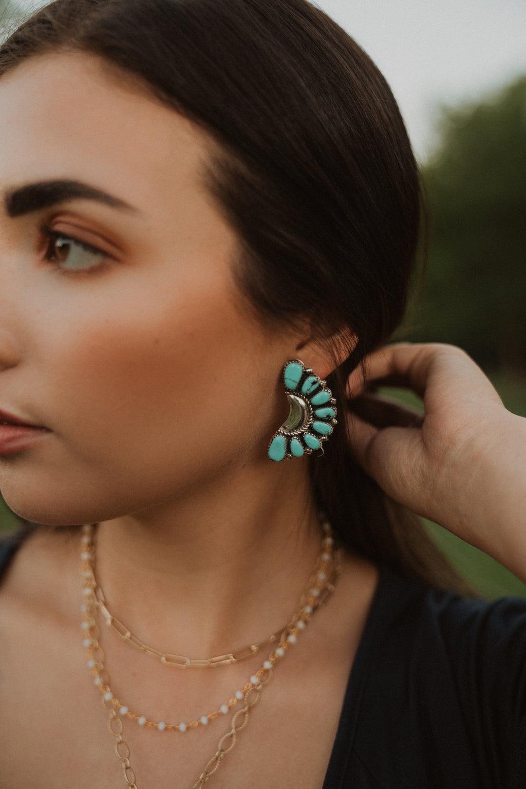 Claire |  Large Turquoise and Silver Earrings