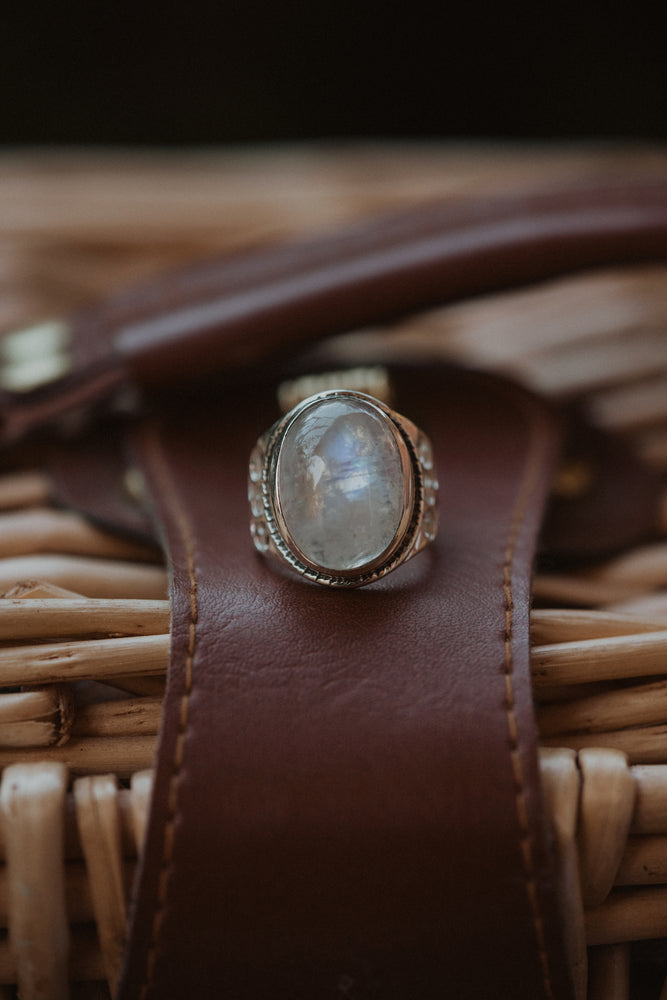 The Stanley Ring | Rainbow Moonstone