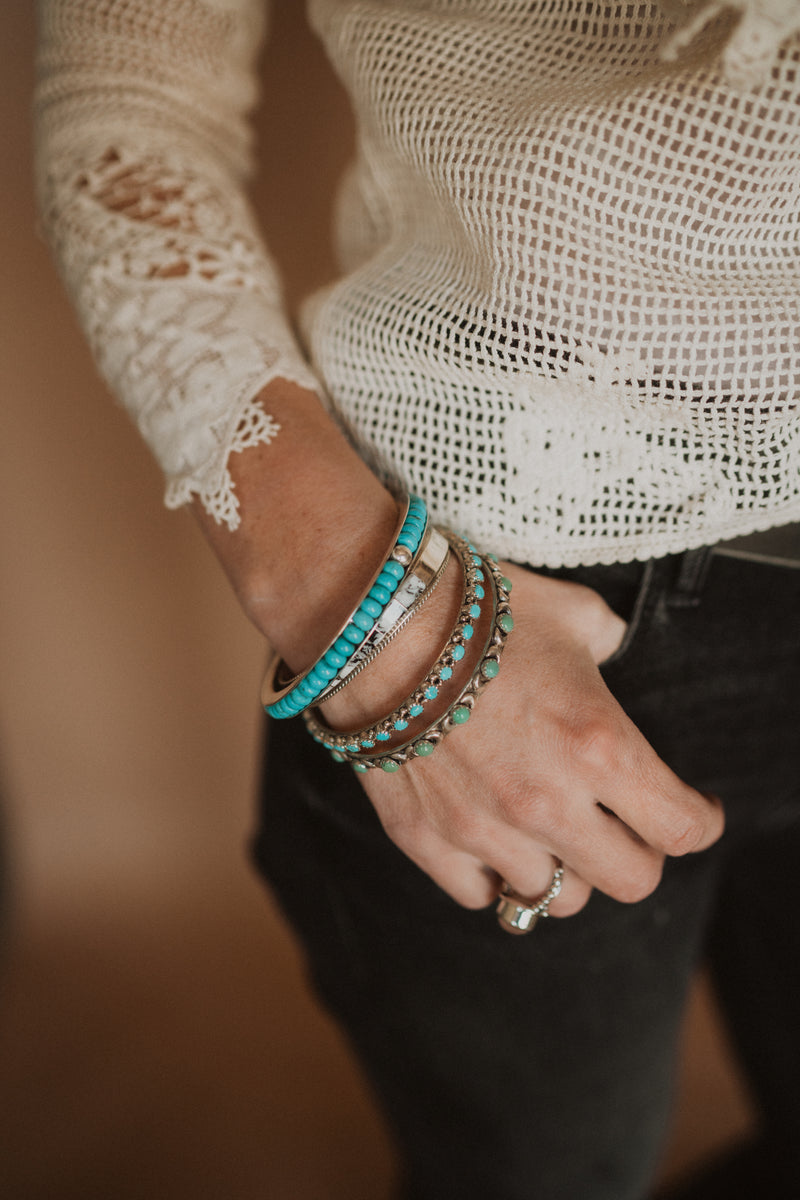 Turquoise and Silver Bead Bangle