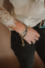 Pearl and Gold Charm Bracelet