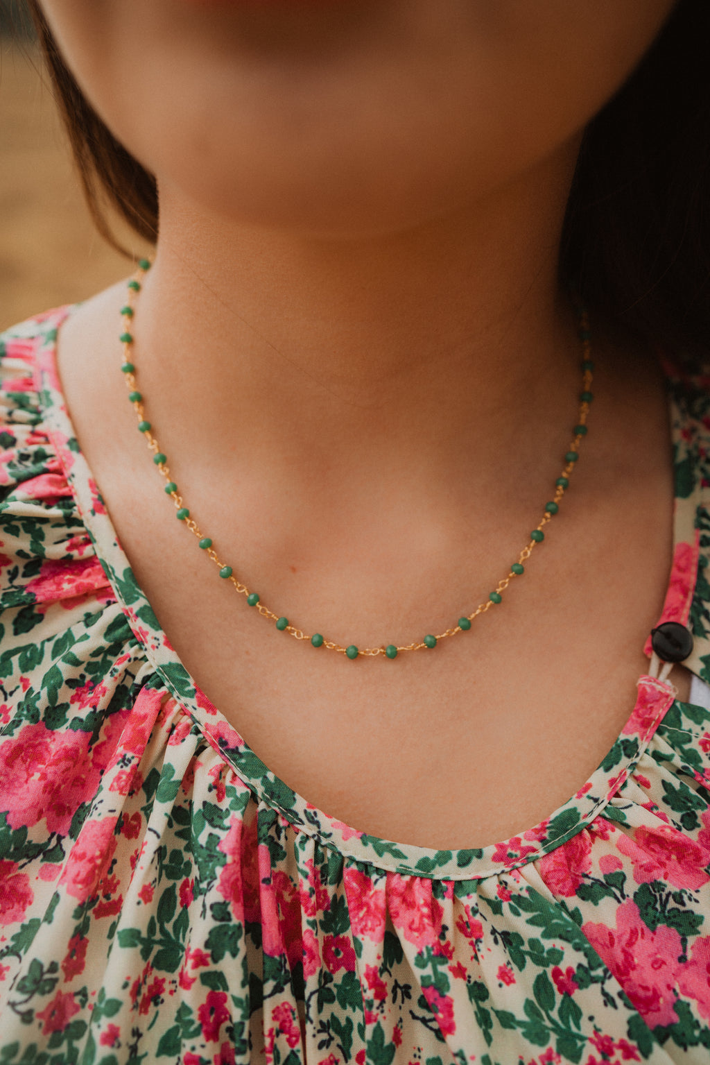 Green and Gold Moonstone Choker