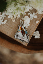 The Eva | Maroon Bucking Horse Necklace