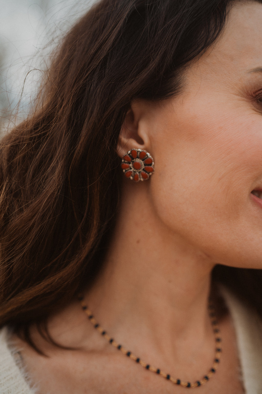 Lucy Earrings | Coral Zuni Stud
